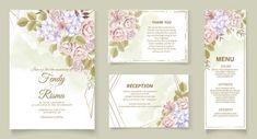 Premium Vector | Elegant wedding invitation floral design Wedding Invitation Card Template, Elegant Wedding Invitations, Floral Design, Reception, Floral Patterns, Receptions