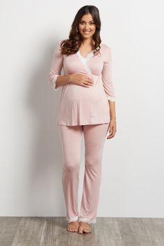 Light Pink Lace Trim Maternity Pajama Set Nursing Pajamas 45eec19af