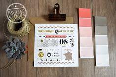 Faire part mariage original avec frise chronologique pictogrammes et carte de france look vintage modele typolovely personnalisable sur pastillesetpetitspois.fr