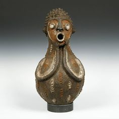 Africa | Figurative vessel from the Mambila people of Cameroon | Terracotta, pigment | 20th century