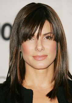 Sandra Bullock Medium Straight Cut with Bangs - Shoulder Length Hairstyles Lookbook - StyleBistro