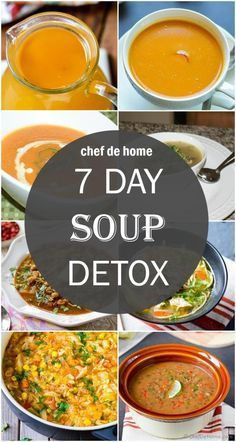Today, I bring to you, my ultimate 7 day Soup Detox. I wanted to continue with momentum of soups this week so could not wait for Saturday to share this meal plan a.k.a soup collection! More than a... Detox Diet Drinks, Natural Detox Drinks, Detox Diet Plan, Fat Burning Detox Drinks, Sopa Detox, Dietas Detox, Liver Detox, Detox Soups, Detox Recipes