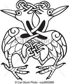 celtique, conception, noué, Lignes, deux, Colombe, Oiseaux - csp5603689
