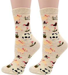 Carahere Women's Soft Cotton Cute Animal Patterned Fun Cr...