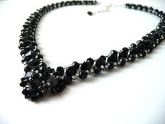 Black Beaded Jewelry Necklace, Costume Jewelry, V Shaped, Swarovski Crystal Necklace, Unique Prom Jewelry, Mother of the Bride, Bridesmaid by MelJoyCreations, $73.00