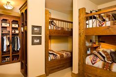 Built in bunks tuck into unique spaces.