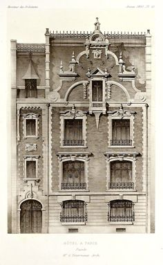 "archimaps: "" Elevation of a private residence, Paris "" Neoclassical Architecture, Classic Architecture, Gothic Architecture, Historical Architecture, Beautiful Architecture, Architecture Details, Architecture Blueprints, Architecture Drawings, Facade Design"