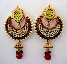 Beautiful Antique Style Colorful Pearls Jhumka by SynasCollection, $43.00