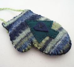 Felted Christmas Ornament Mitten Recycled by OohLookItsARabbit, $8.00