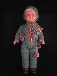 506) zauberhafte ältere Schildkröt PUPPE CHRISTEL Celluloid Blond Größe ca. 56cm
