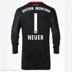 c9c7468ef  21 Eurojerseys Bayern Munich 2017-18 Goalkeeper Neuer 1 Black Long Sleeved  Soccer Jersey Shirt