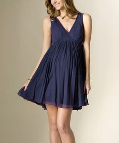 Take a look at this Midnight Navy Silk Maternity Empire-Waist Dress on zulily today!