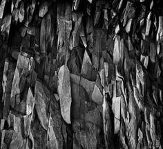 """""""Basalt stack, Hálsanefshellir"""" by Paul Perton #photography #rocks #nature #black #white #bw"""