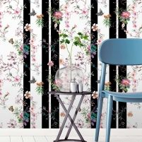 A modern butterfly wallpaper, with classical watercolour meeting funky stripes. Girls Bedroom Wallpaper, Kids Wallpaper, Wallpaper Samples, Wall Wallpaper, Striped Wallpaper, Butterfly Wallpaper, Beautiful Butterflies, Elle Decor, Designer Wallpaper