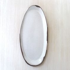 Image of White on Chocolate Brown Oval Platter #16 - SOLD