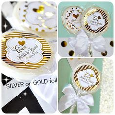Personalized Gold Silver Foil Lollipops - COUPON CODE IS saveme5