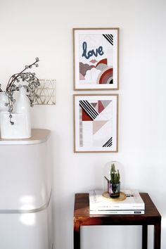 DIY: Needlepoint with bold graphic patterns / Stickbilder mit grafischem Muster. Via Seelected Graphic Patterns, Floating Nightstand, Needlepoint, Gallery Wall, Table, Diy, Inspire, Inspiration, Furniture