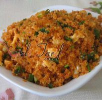 """Turkish egg-fried """"rice"""", using bulgur wheat Vegetarian Recipes No Cheese, Healthy Recipes, Turkish Eggs, No Gluten Diet, Egg Curry, Chana Masala, Fried Rice, Risotto, Macaroni And Cheese"""