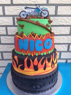 Yamaha cartoon cake with flames... For a 60 Year old kid