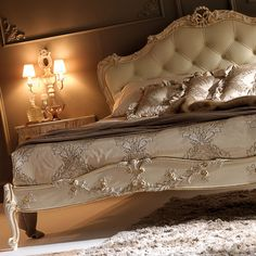 Luxury Carved Rococo Reproduction Leather Button Upholstered Bed
