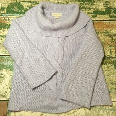 Lavender Michael Kors sweater Gorgeous lavender Michael Kors sweater...fun cowl neck and 3/4 bell sleeves. Love the cable and chunky knit. Perfect condition..just lovely. MICHAEL Michael Kors Sweaters Cowl & Turtlenecks