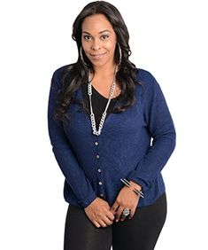 Katia Womens Plus Size Cardigan Pockets Long Sleeve Button Closure 1XL-2XL Blue Katia http://www.amazon.com/dp/B01ACA8OSC/ref=cm_sw_r_pi_dp_tPzKwb171ASH8
