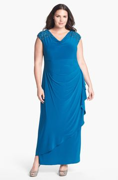 a670bb1e9103a Alex Evenings Embellished Side Draped Jersey Dress (Plus Size)