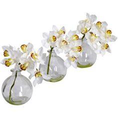 Cymbidium with Vase Silk Flower Arrangements, Set of 3, White