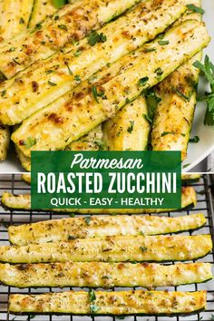 How to make the best CRISPY Roasted Zucchini in the Oven Never soggy Perfect oven baked zucchini and yellow squash spears topped with Parmesan and herbs This is one of our favorite easy and healthy side dish recipes via wellplated Parmesan Roasted Zucchini, Roasted Zucchini Recipes, Yellow Zucchini Recipes, Roasted Zucchini And Squash, Squash Zucchini Recipes, Courgette Recipe Healthy, Vegetarian Zucchini Recipes, Easy Squash Recipes, Breaded Zucchini