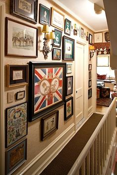 slowly filling my staircase with a collection of eclectic frames .... starting to look really neat!   (via The Fuller View / Pinterest)