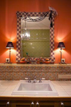 текстиль, рама, зеркало, ванная, textile, frame, bathroom, William Morris tile