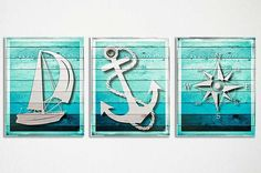 Set of three art prints of rustic nautical icons: a sailboat in the wind, an anchor and a vintage style nautical compass against the look of weathered wood.  • Professionally printed on matte, fine art paper with fade resistant inks. Unframed. • Larger sizes available by custin request: up to 20x30!  • All orders will ship via USPS with Tracking Number.  Frame and mat are not included; they are for illustrative purposes only. Actual colors may vary from the color on your screen due to…