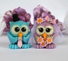 Custom bride and groom love birds owl wedding cake topper - daisies bridal bouquet. $65.00, via Etsy.