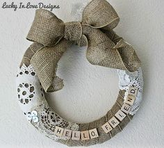 doily and burlap wreath...