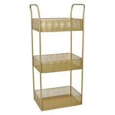 Add a touch of elegance with this Plutus Brands Metal Storage Rack in Gold Metal Item Dimensions: 9.75 inch L x 15 inch W x 32 inch H - Weight: 0 lbs Material: Metal - Color: Gold Country of Origin: Metal Storage Racks, Storage Shelves, Modern Bookshelf, Furniture Deals, Adjustable Shelving, Country Of Origin, Living Room Furniture, Bath Organizer, Touch