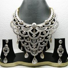 White American Diamond Studded Bridal Necklace Set