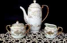 Summer Sale Vintage Japan Porcelain Chocolate/Coffee Set,1920s TT Mark,22K Gold Moriage and Handpainted Dogwood Design,Dining & Serving, Tak