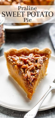 Praline Sweet Potato Pie - a dreamy combination of crunchy pecans, brown sugar, buttery caramel and soft maple-infused mashed sweet potatoes. Homemade Sweet Potato Pie, Sweet Potato Pecan Pie, Sweet Potato Muffins, Paleo Sweet Potato, Mashed Sweet Potatoes, Sweet Potato Casserole, Sweet Potato Recipes, Holiday Desserts, Holiday Baking