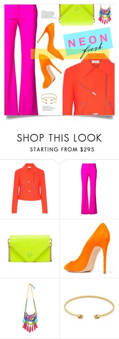 """Neon."" by liligwada ❤ liked on Polyvore featuring A.L.C., Altuzarra, Tory Burch, Casadei, Gucci, Pink, neon, Pumps and flashy"