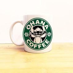 Ohana Coffee Mug 11 Oz Lilo and Stitch Starbucks Ceramic Tea Cup ($15) ❤ liked on Polyvore featuring home, kitchen & dining, drinkware, drink & barware, home & living, mugs, silver, ceramic mugs, ceramic tea cups and ceramic coffee mugs