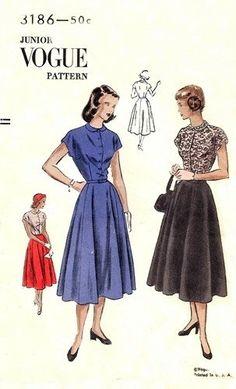 Vogue 3186 High School Miss Dress with Circular Skirt / ca. 1948 / SZ13 Factory Folds