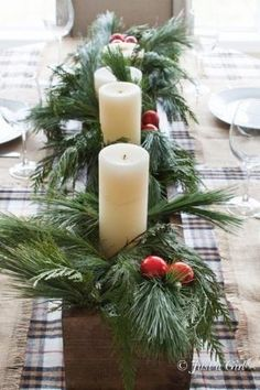 DIY Centerpiece for a Christmas tablescape. Love the look of this and the aroma from the fresh pine would smell heavenly. by joni