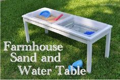 Farmhouse Sand and Water Table- I would want clear bins