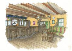 Irish Pub in Japan Pub Design, Basement, Irish, Sketches, Cabin, House Styles, Home Decor, Drawings, Root Cellar