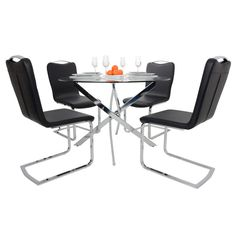 Round Glass Top Dining Table Set With 4 Black Chairs  Thumbnail 3