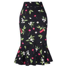 High Waist Vintage Mermaid Midi Flare Skirt-Skirts-Look Love Lust Midi Flare Skirt, Midi Skirts, Pencil Skirts, Work Skirts, Fishtail Skirt, Picnic Dress, Black And White Skirt, Black White, White Skirts