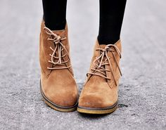 Fancy - Lace-Up Wedge Booties