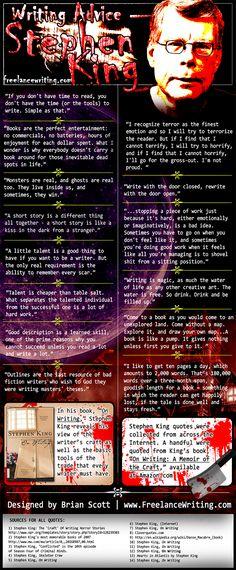 Stephen King writing advice info-graphic