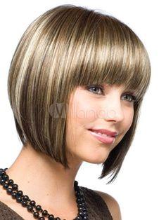 Natural Flaxen Centre Parting Heat-resistant Fiber Women's Short Wig