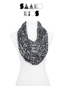 Leopard-print gray and black children's scarf-lace